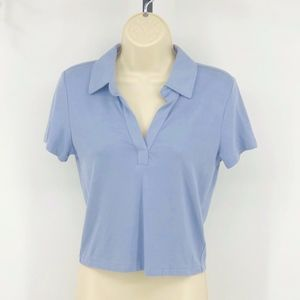 Blue Short Sleeve Cropped Top Polo Shirt Womens L